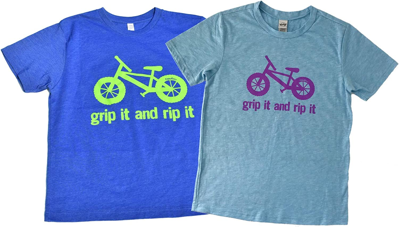 ZippyRooz Kids Fat Tire BMX Bike Tee Shirt Grip It and Rip It for Youth Girls