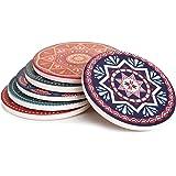 "Lifver 6-Piece Absorbent Stone Coaster set, ""drink"" spills coasters, Mandala Style"
