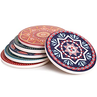 Lifver 6-Piece Absorbent Stone Coaster set,  drink  spills coasters, Mandala Style