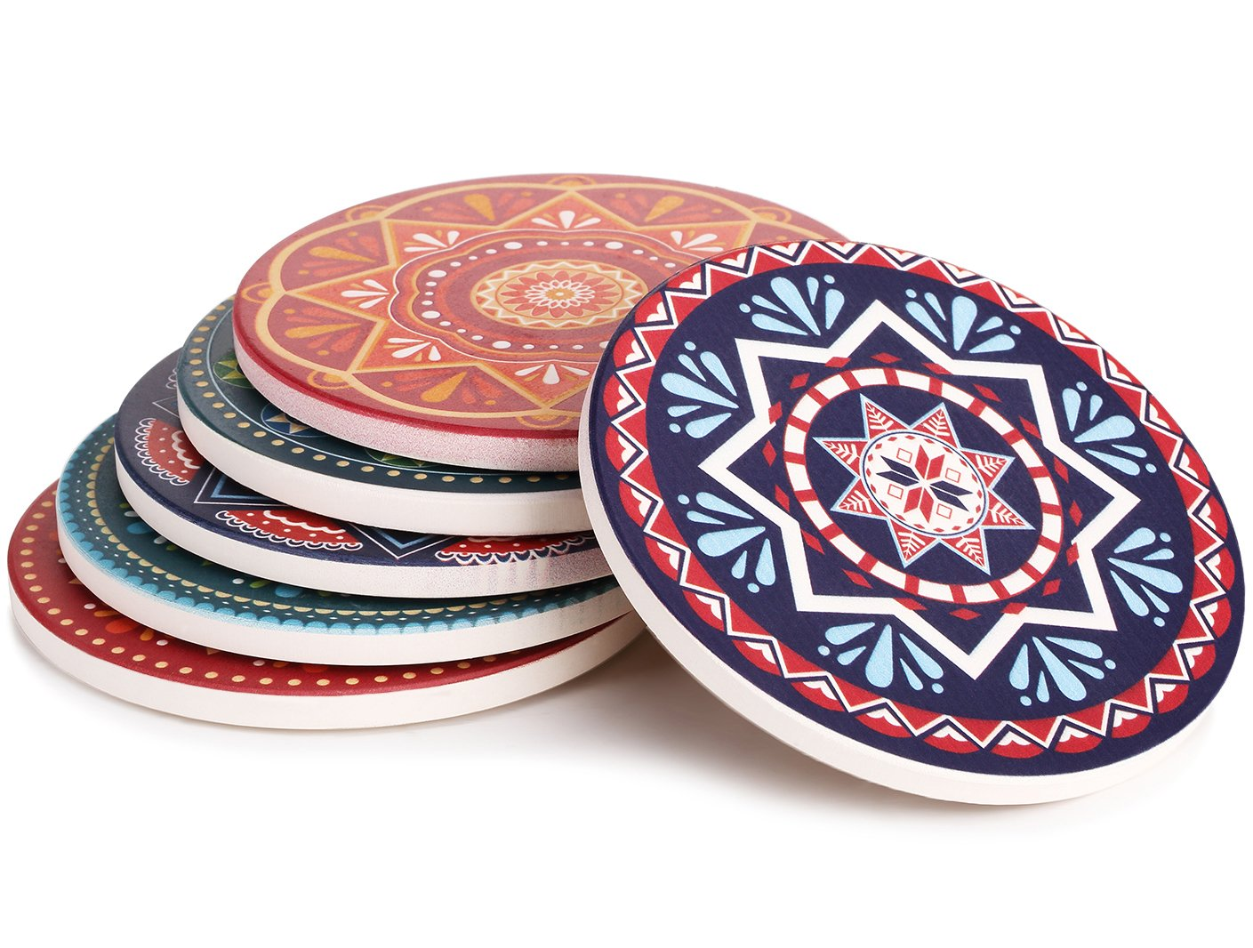 Lifver 6-Piece Absorbent Stone Coaster set, ''drink'' spills coasters, Mandala Style
