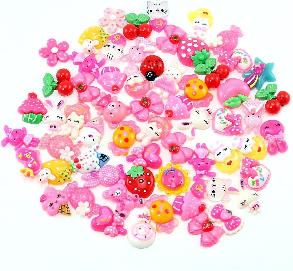 Cute assortment cabachons flat backs pink flowers bows animals kawaii 100pcs