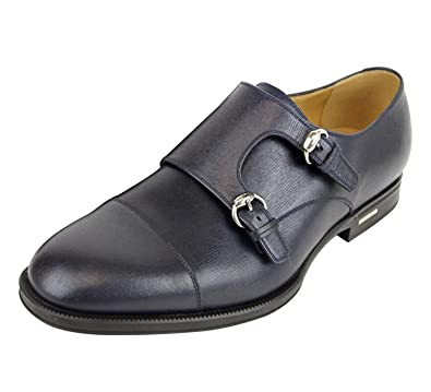 12a15da7c87 Gucci Men s Navy Blue Leather Double Horsebit Buckle Loafer Shoes 322478  4009 (8 G