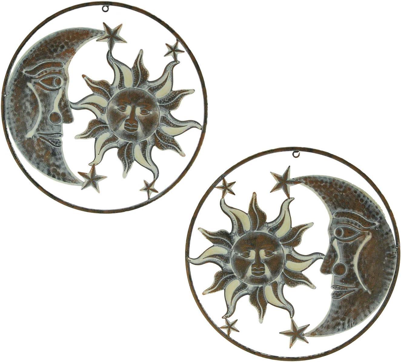 Zeckos Set of 2 Rustic Metal Sun Moon Stars Wall Art Celestial Hanging Decor Indoor Outdoor Art Decorations
