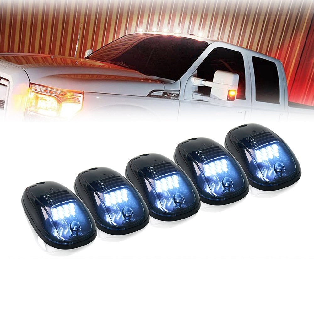 Xprite 12 LEDs White LED Cab Roof Top Marker Running Clearance Lights for Ford Truck SUV Pickup 4x4 Off-road, Newest Version Black Smoked Lens Lamps - 5pcs SL-745N-W