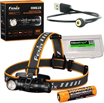 Built-In Charge Port Fenix HL55 Rechargeable 900 Lumens Headlamp with Fenix 3500mAh Rechargeable Battery and LumenTac USB Charge Cable