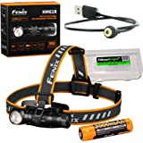 Fenix HM61R 1200 lumen magnetically rechargeable LED Headlamp, high capacity battery with EdisonBright battery carry…