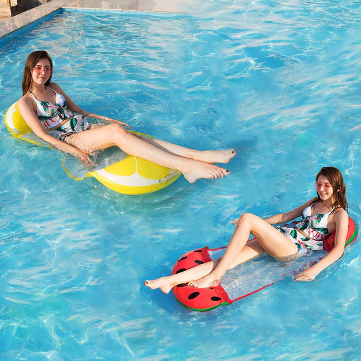 VITHRIII Inflatable Pool Float Water Hammock for Adults 2 Pack Multi-Purpose Portable Swimming Pool Fruit Shape Lounge Chair Comfortable Floating Lounger