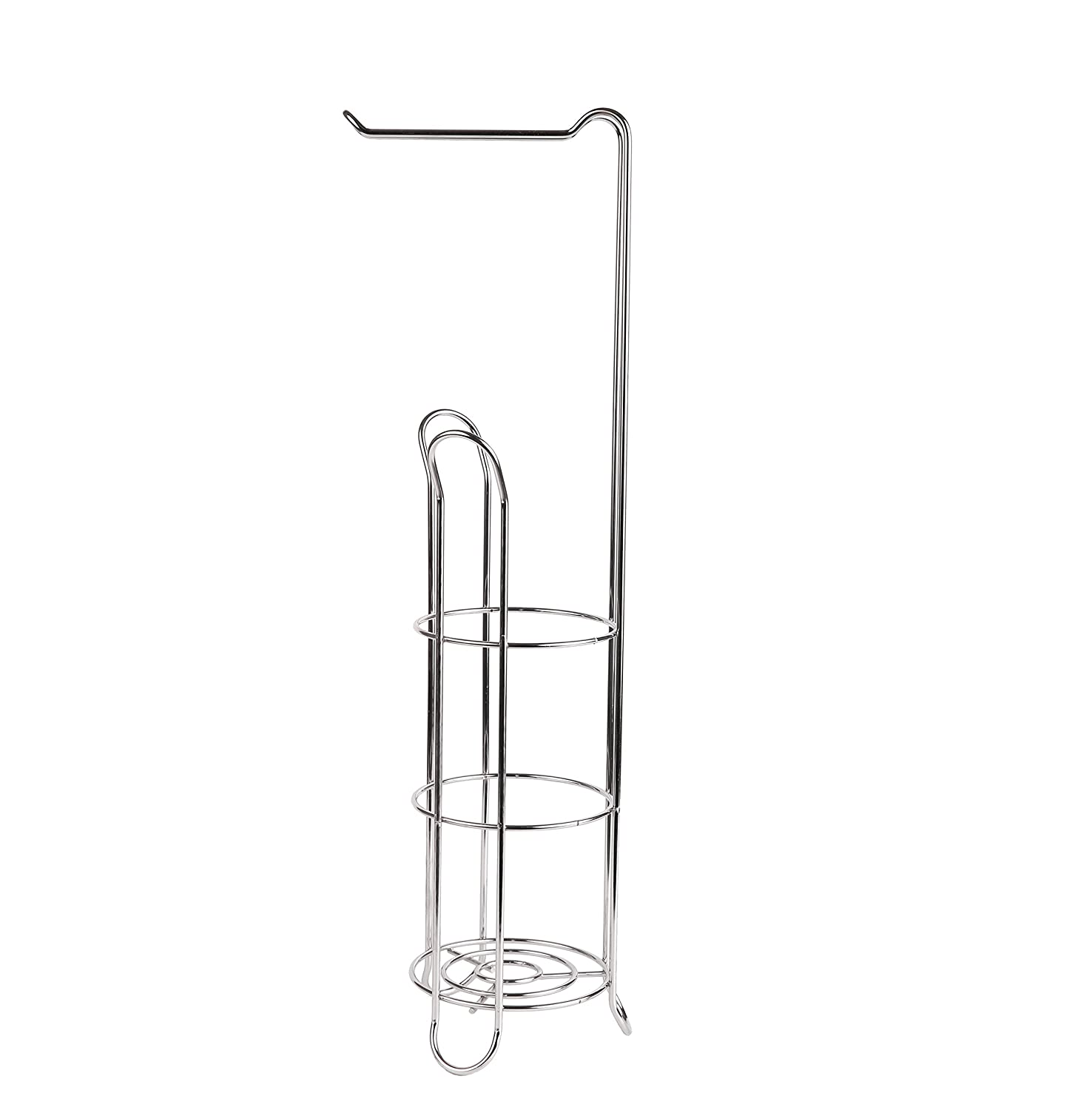 Stainless Steel 3//4 Roll Storage EXZACT EX-A121 Toilet Paper Holder Free Standing Wire Framed Loo Roll Dispenser