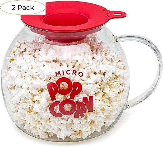 Dishwasher Safe Blue BPA Free Ecolution Original Microwave Micro-Pop Popcorn Popper Borosilicate Glass 3-in-1 Silicone Lid