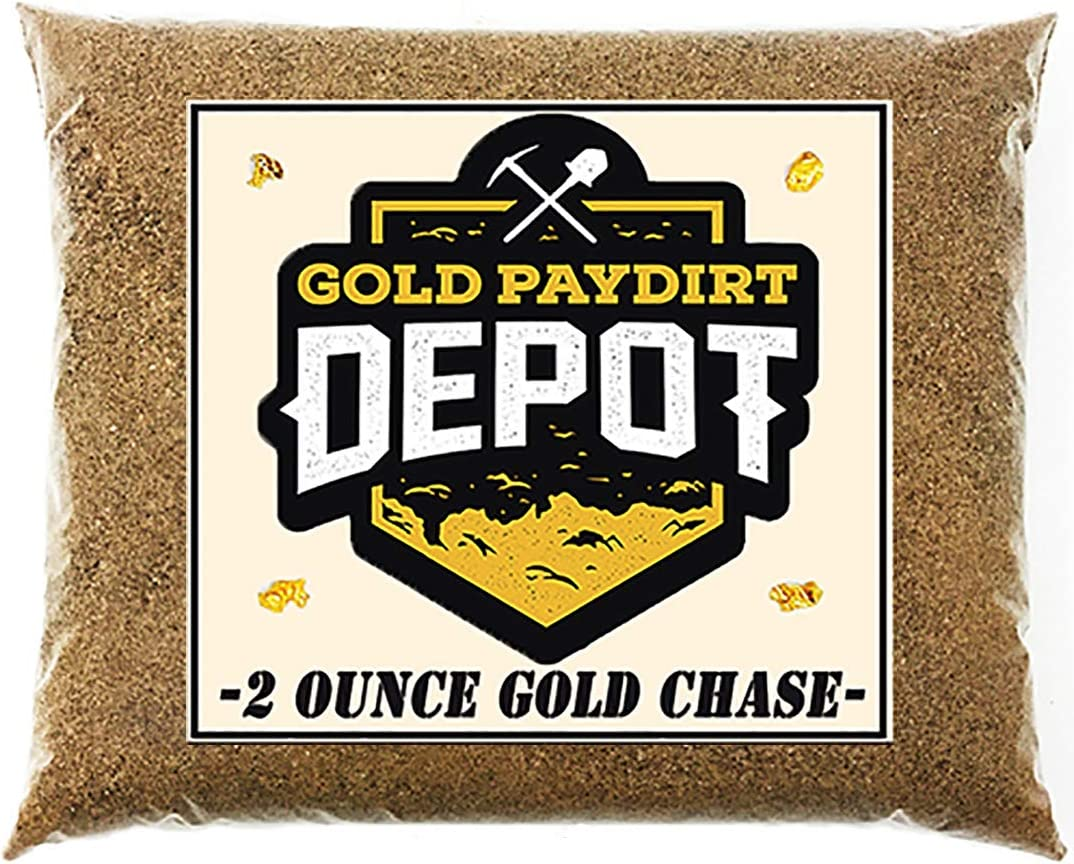 Gold Paydirt Depot '2 Ounce Gold Chase' Gold Nugget Paydirt Panning Concentrate Pay Dirt Bag - Gold Prospecting