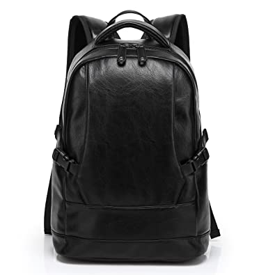Amazon.com: BAOSHA Mens TOP PU Leather Laptop Backpack College ...