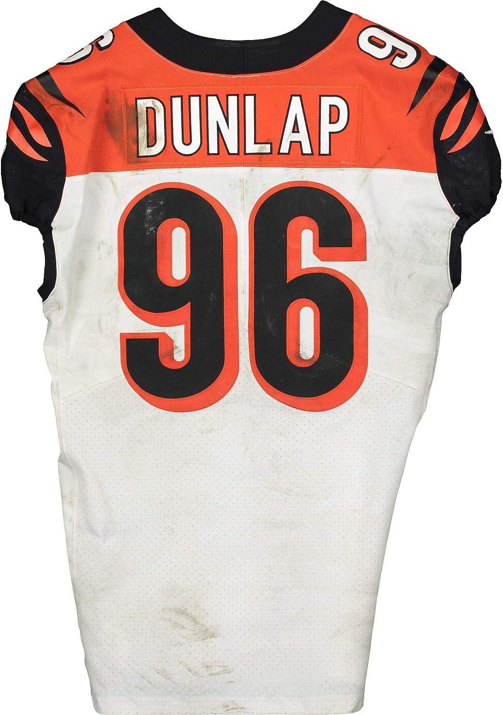 Carlos Dunlap Cincinnati Bengals Game-Used #96 White Jersey vs ...