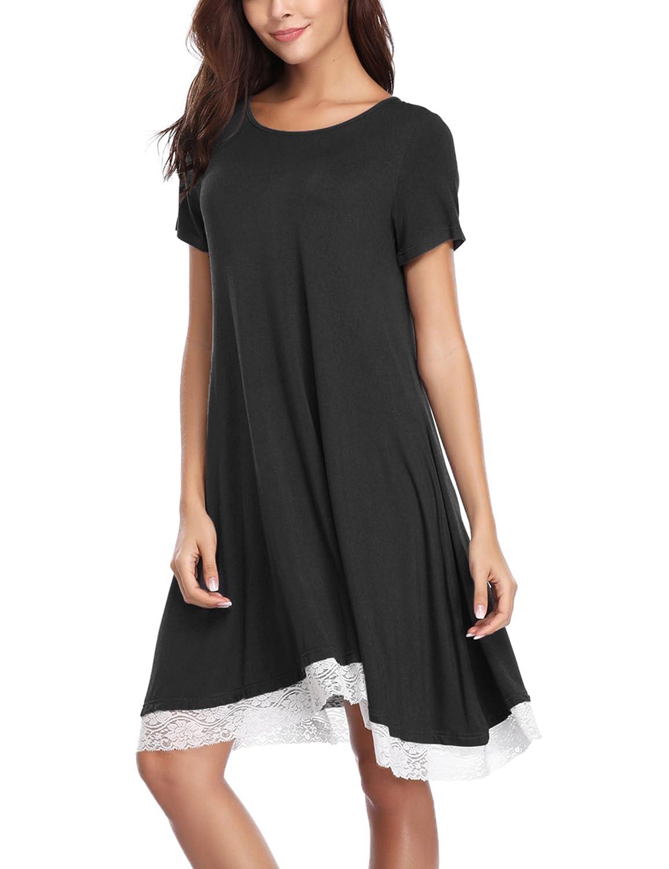 Aibrou Camisón Casual Mujer Algodón,Pijama Manga Corta Comodo y Elegante Ropa de Dormir para Mujer