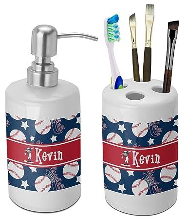 Amazon Com Rnk Shops Baseball Bathroom Accessories Set Ceramic