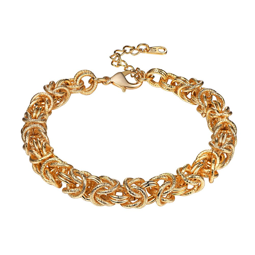 U7 Chain Bracelet Byzantine Style Double Oval Interlocking Link Bracelets for Men and Women,7 inches and 2 inches Extension Chain U7 Jewelry U7 H3432K