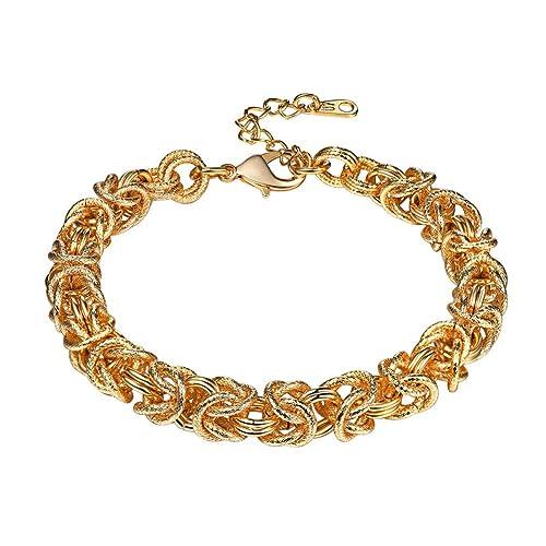 a57fecfd57c1a Amazon.com: U7 Chain Bracelet 18K Gold Plated Double Oval ...