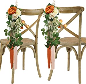 Rinlong Wedding Aisle Decorations Set of 6 Church Chair Bench Pew Bows for Wedding Ceremony Decor Burnt Orange Artificial Flowers with Chiffon Ribbons