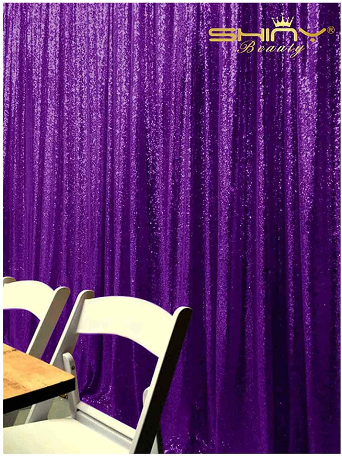 TRLYC 9ft9ft Purple Shimmer Sequin Fabric Photography Backdrop Sequin Curtain for Wedding//Party