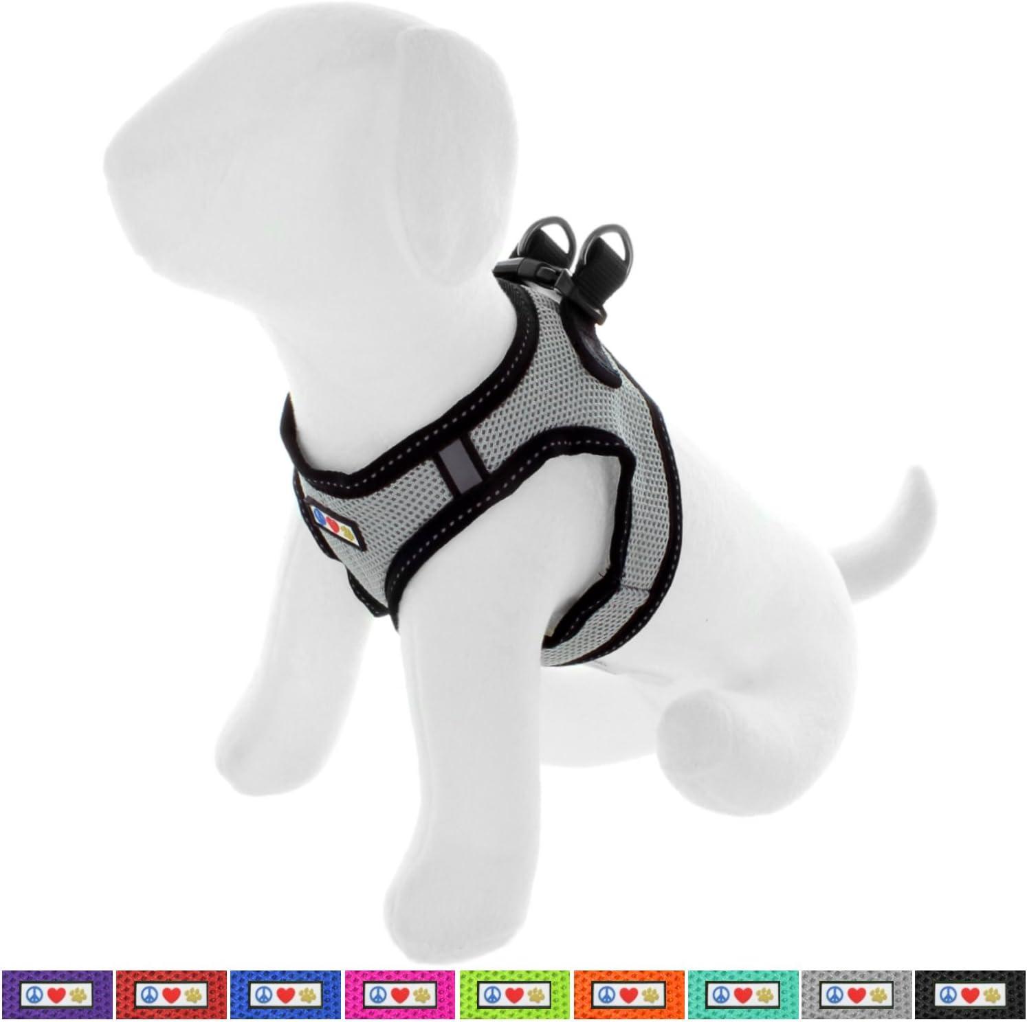 Pawtitas Arnes de Tela Antitirones Perro y Cachorros, Chaleco Acolchado para Mayor Comodidad, diseño Resistente, Ajustable y Transpirable Extra Pequeño Gris