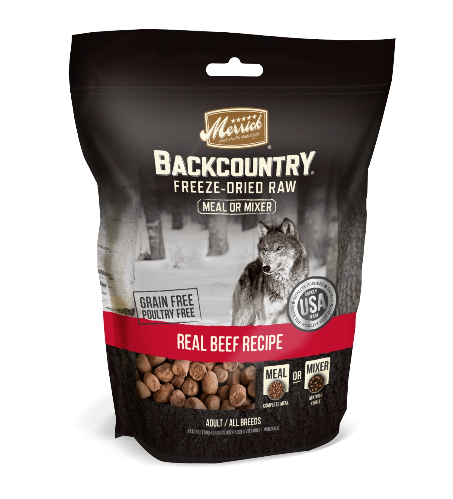 Merrick Backcountry Freeze-Dried Raw Real Beef Recipe Meal Or Mixer Grain Free Adult Dog Food, 12.5 Oz. by Merrick