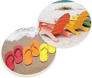 Beach Ocean Flip Flops 2.75 x 2.75 Absorbent Ceramic Car Coasters Pack of 2