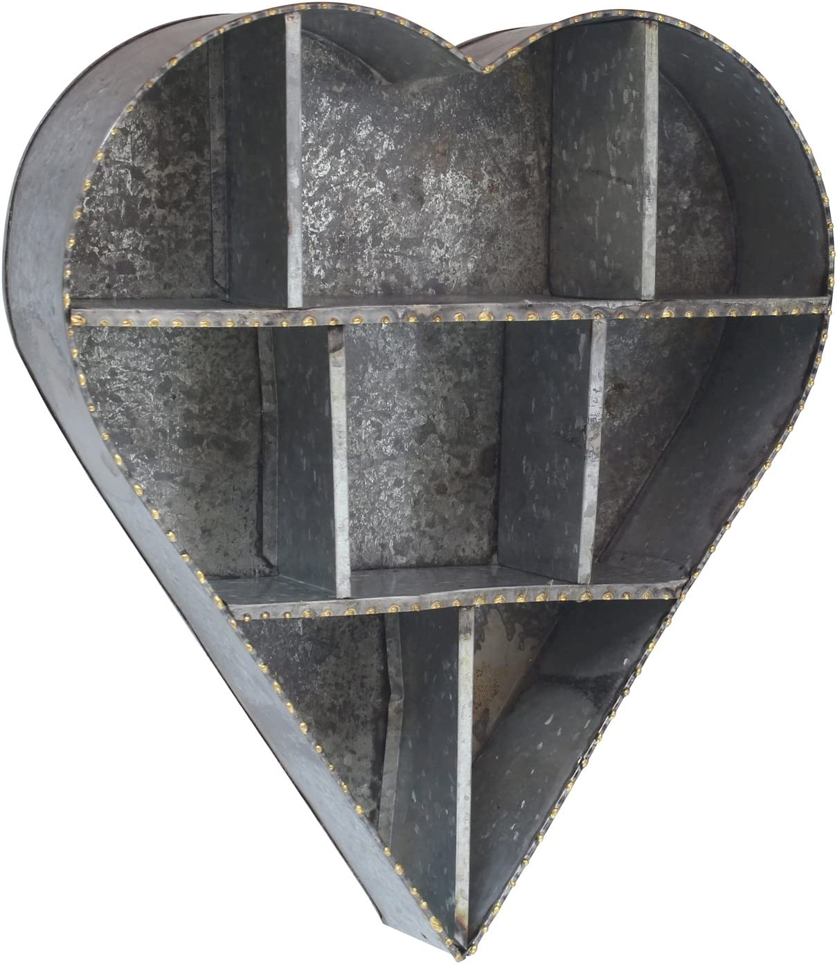 Stonebriar SB-5642A Heart Shape Galvanized Metal Wall Shelf
