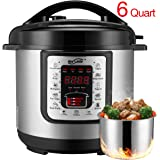 Housmile Electric Pressure Cooker with Steam Rack, 6 Quart 7-in-1 Multi-Use Programmable Electric Cooker and Canner, 1000 Watts