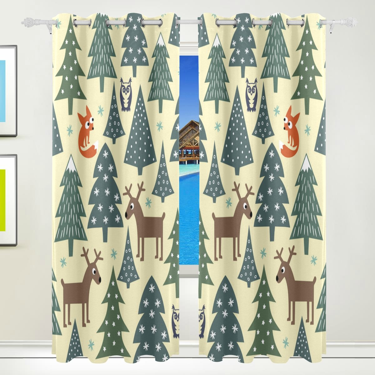Vantaso Window Curtains 84 Inch Long Forest Animal Deer Owl Fox for Kids Girls Boys Bedroom Living Room Polyester 2 Pannels