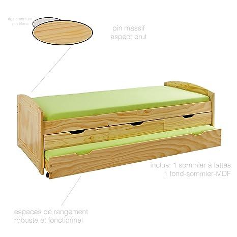 Cama con canapé y cajones multiorganización de madera maciza ...