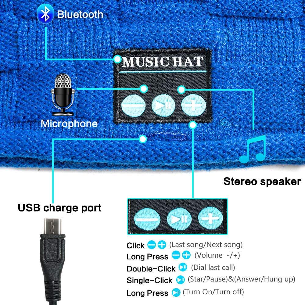 PASATO New Winter Unisex Bluetooth Wireless Smart Beanie Keep Warm Windproof Hat Handsfree Music Speaker (Blue,Free Size) by PASATO Hat (Image #4)
