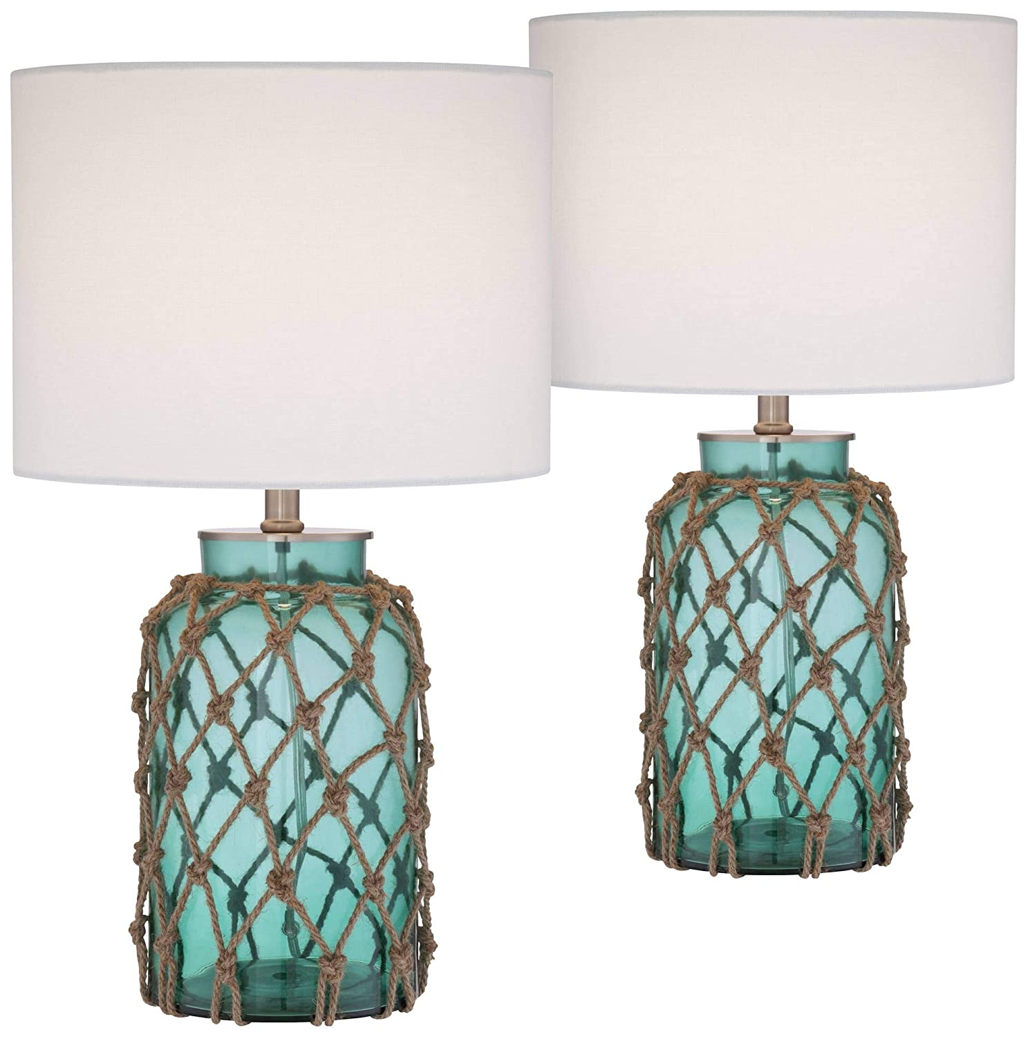 Crosby Nautical Accent Table Lamps Set of 2 Coastal Blue Green Rope Net Off White Drum Shade for Living Room Family Bedroom