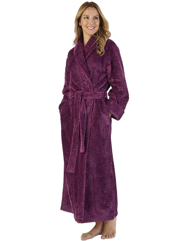 TALLA L. Slenderella HC2333 Women's Waffle Flannel Robe Loungewear Bath Dressing Gown