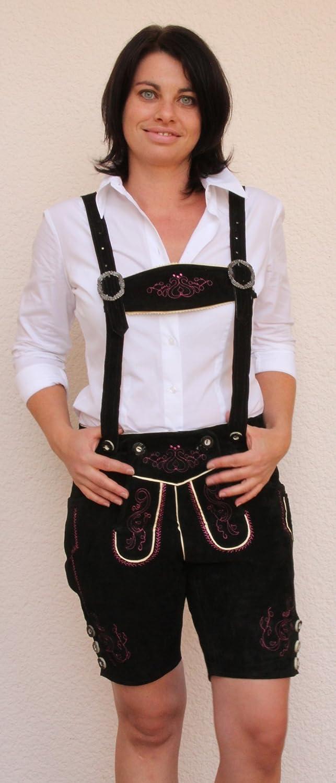 Kurze Damen Trachten -Lederhose Farbe schwarz, pink bestickt, Größen 34 - 46