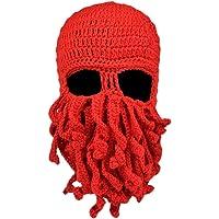 Vbiger Tentacle Octopus Cthulhu Knit Beanie Windproof Beard Ski Mask Hat