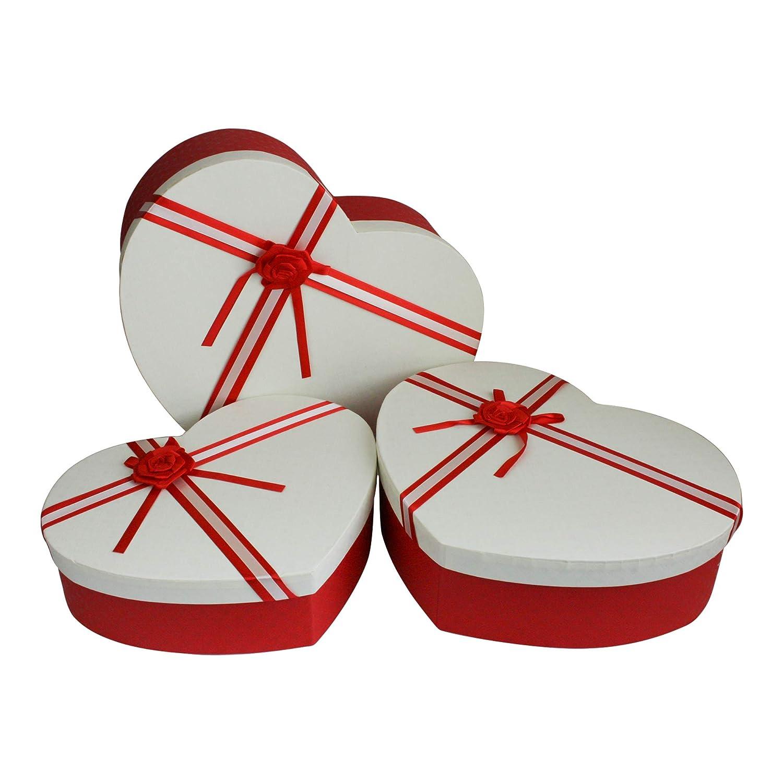 Interno a Pois e Nastro a Strisce Scatola Bianca con Coperchio Rosso Emartbuy Set di 3 Lusso Rigido Confezione Regalo a Forma di Cuore