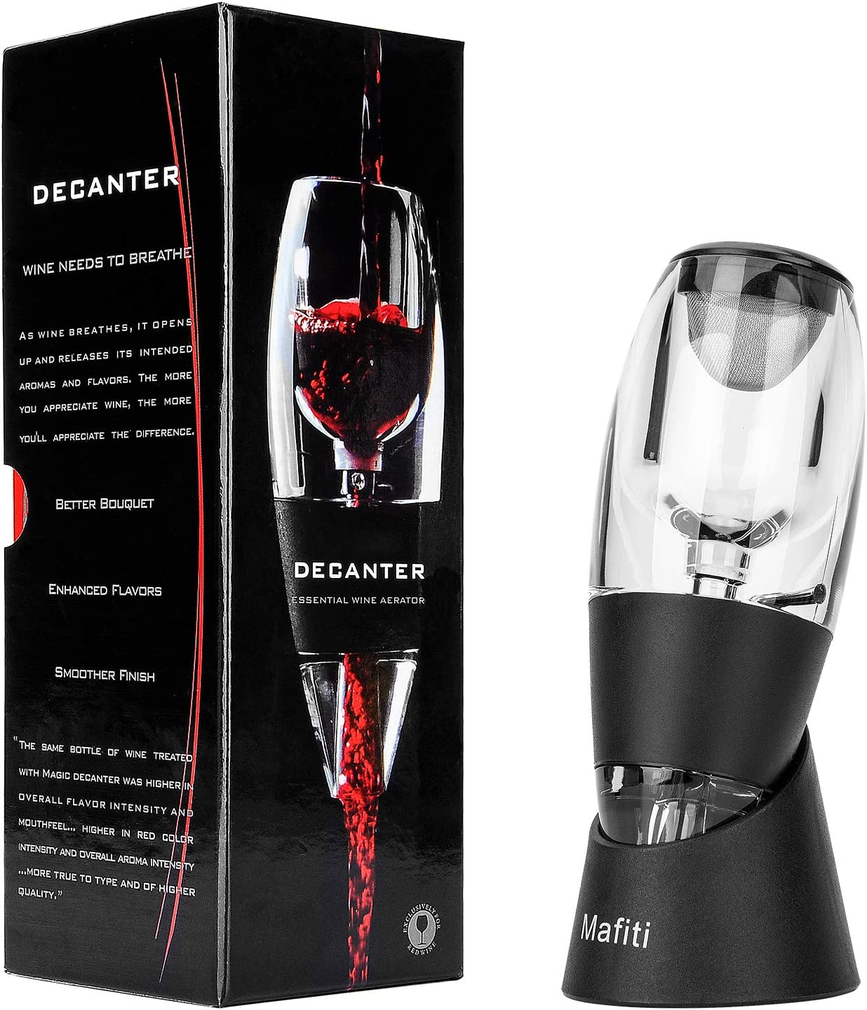 mafiti Red Wine Pourers Aerator Portable Decanter with Base for Birthday Friendship,Wine Gift Father day Party Home Use