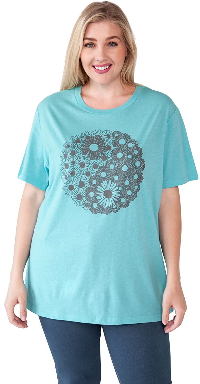 6f5918a15 Yin Yang Daisy Flower print. Soft, thin, lightweight fabric. Short sleeve,  crew neck, no print on back. Underarm to underarm (laid flat): 1X=25