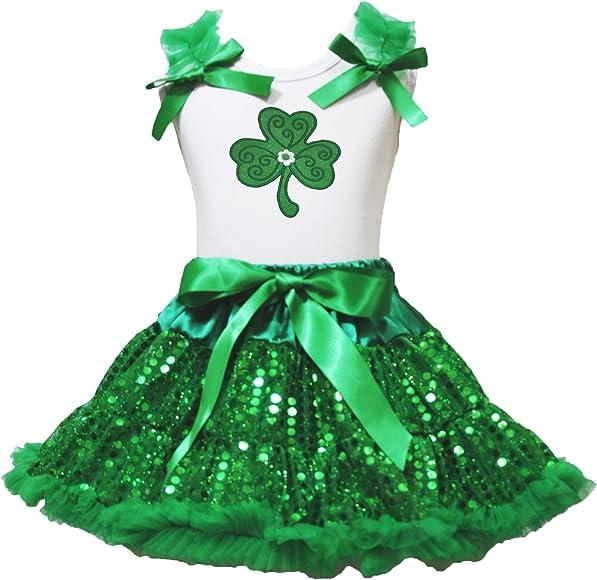 ST PATRICKS trébol blanco camiseta verde Bling lentejuelas Pettiskirt niña ropa 1 – 8Y: Amazon.es: Ropa y accesorios