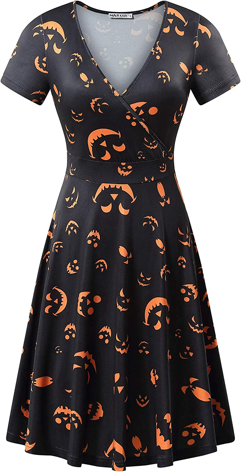Womens Short Sleeve Jack O Lantern Print Dresses