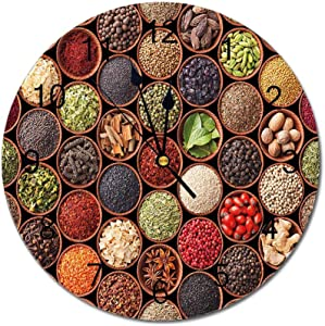 Yeeboo Kitchen 10 Inch Round Wall Clock,Colorful Herbs and Spices Cardamom Pepper Chili Ginger Dill Natural Cuisine Print Easy Read Clock for Home Office Classroom,Multicolor