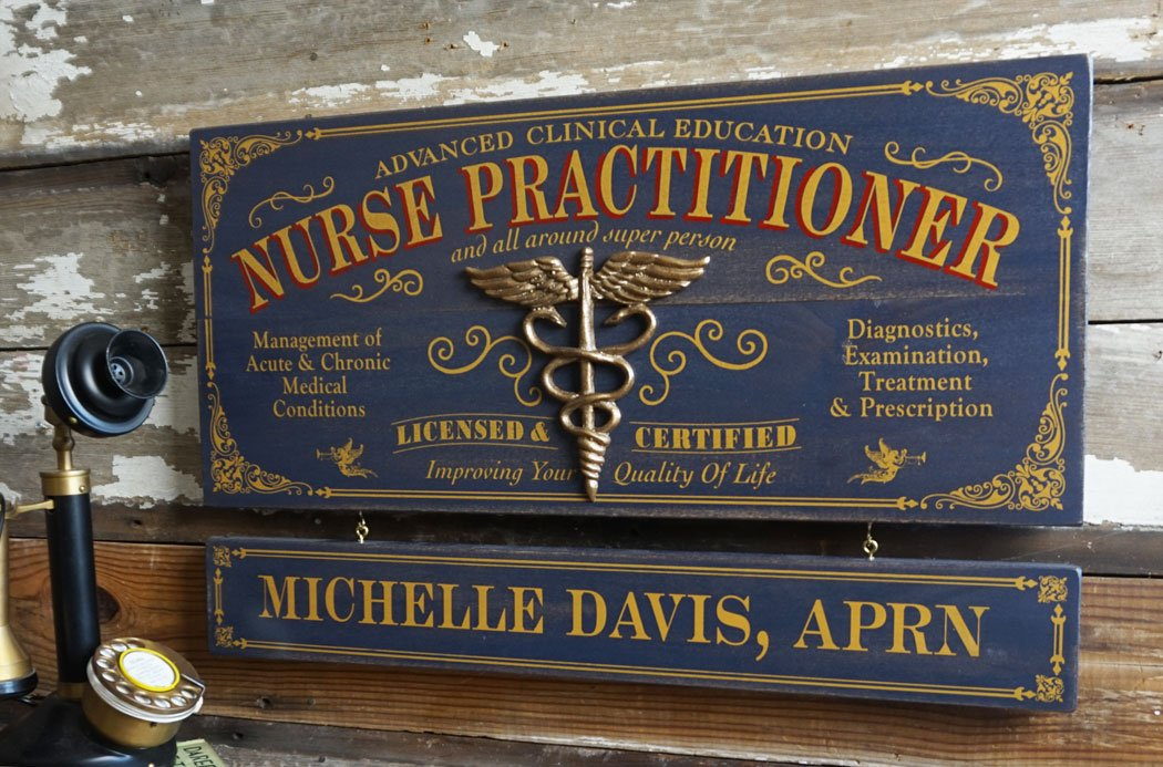 Nurse Practitioner Wood Sign with Personalized Nameboard by Thousand Oaks Barrel Co.
