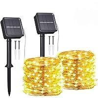 Guirnaldas Luces Exterior Solar,Tomshine 2 Pack 12m 120LEDs Luces Solares LED Exterior Jardin,IP65 Impermeable,8 Modos…