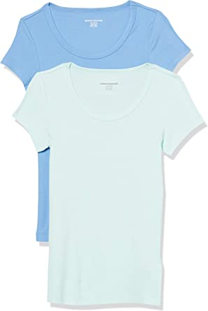 Amazon Essentials 2-Pack Slim-fit Cap-Sleeve Scoopneck T-Shirt Fashion- t-Shirts Mujer: Amazon.es: Ropa y accesorios