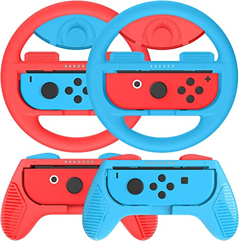 Kit de 4 Grips Para Mando Nintendo Switch Joy-Con,2 Grips y 2 Volante de nintendo switch ,Azul / Rojo: Amazon.es: Videojuegos