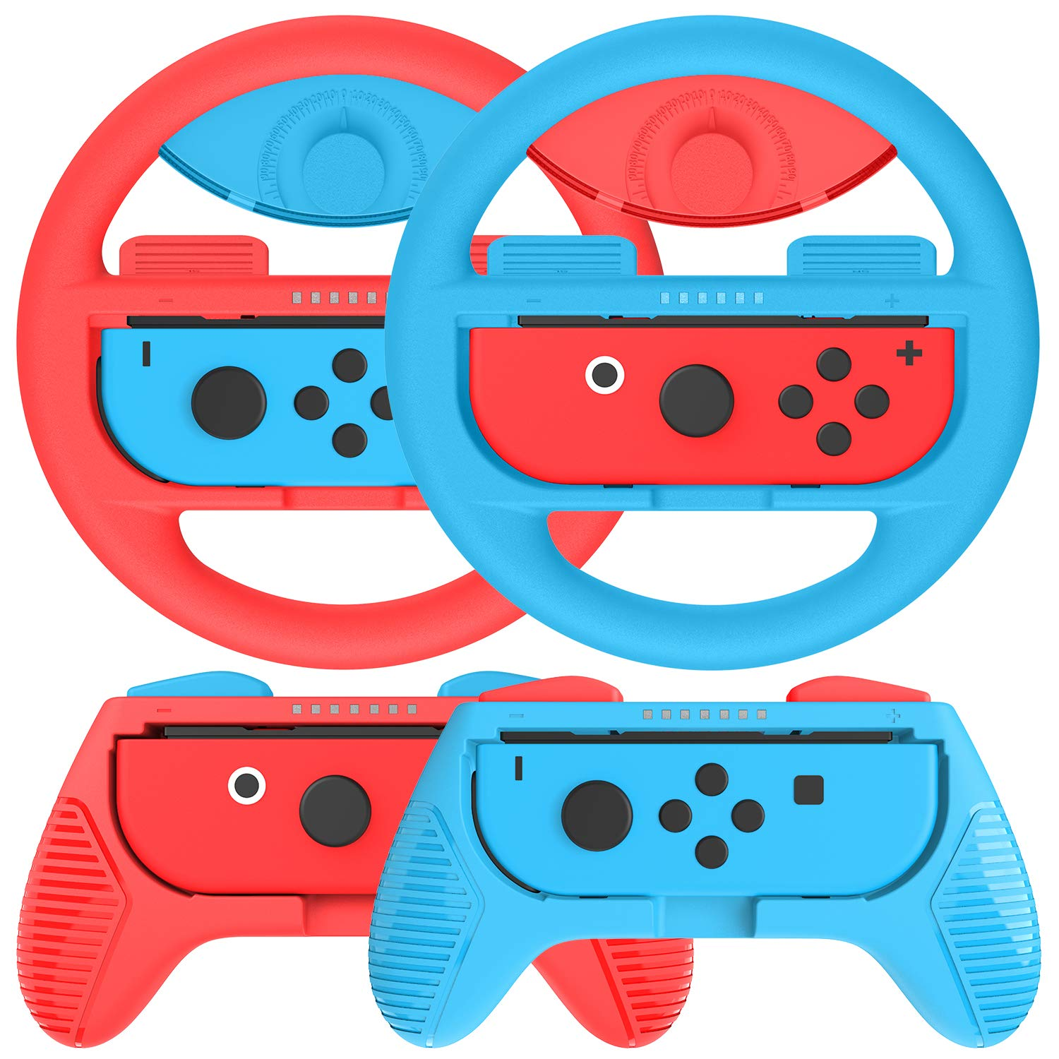 momen Grips Kit for Nintendo Switch Joy Con; Nintendo Switch Joy Con Grip, Anti-Slip Joy Con Wheel for Joy Con (4 Pack) Blue&Red by momen