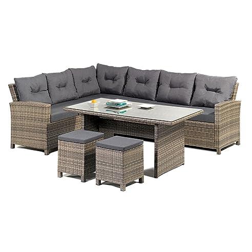 Gartenmöbel set lounge grau  Amazon.de: greemotion Rattan Lounge Set Melina - Gartenmöbel 5 ...