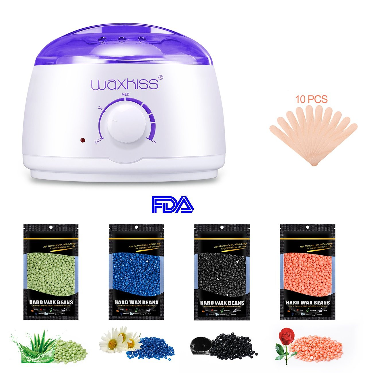 Waxkiss Waxing Kit At Home Wax Warmer Pot for Legs Bikini Upper Lip Armpit Arms Body Hair Removal Painless Wax Warmer Kit with 4 Bags Wax Beans and 10 wood spatulas