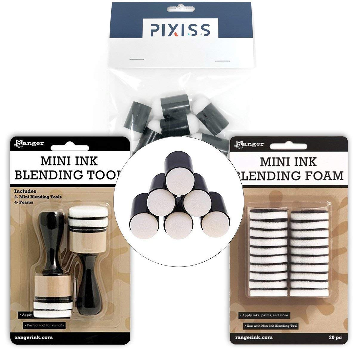 Ink Blending Bundle, 2 Ranger Mini Ink Blending Tools, 20pc Blending Foam Replacements and 10 Pixiss Finger Sponge Daubers
