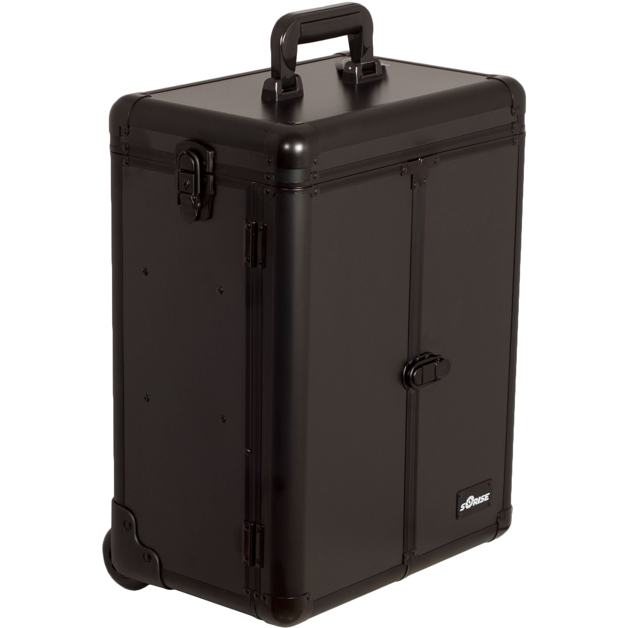 SUNRISE Professional Makeup Case on Wheels E6306 Aluminum, French Doors, 2 Large Drawers, Locking with Mirror, Smooth Matte