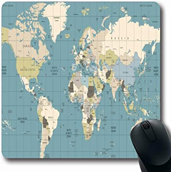 Alfombrillas para computadoras España Marrón Vintage Mapa del mundo Colores antiguos Países Ciudad Marina País Retro Europa Nombre Diseño de cuadrícula Alfombrilla de ratón para juegos antideslizante: Amazon.es: Electrónica
